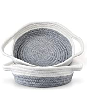 """2 Pack Cotton Rope Baskets, 12.5"""" x 9"""" x 3"""" Small Woven Storage Basket, Sturdy Basket Collapsible Organizer Basket for Fruits, Jewelry, Keys, Sewing Kits, Small Toys(Grey & White)"""