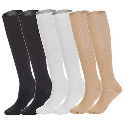 77e0565786 6 Pairs Knee High Graduated Compression Socks For Women and Men (15-20mmHg)  - Buy Online in Oman. | Apparel Products in Oman - See Prices, Reviews and  Free ...
