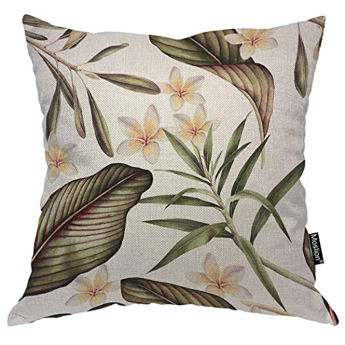 (Moslion Floral Pillow Case Tropical Hibiscus Flower Botanical Plant Palm Tree Leaves Throw Pillow Cover Cotton Linen for Home Sofa Decorative Square Cushion 24x24 Inch)