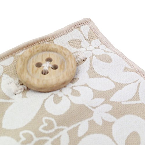 Tan and White Floral with Wooden Button Men's Pocket Square by The Detailed Male by The Detailed Male (Image #2)