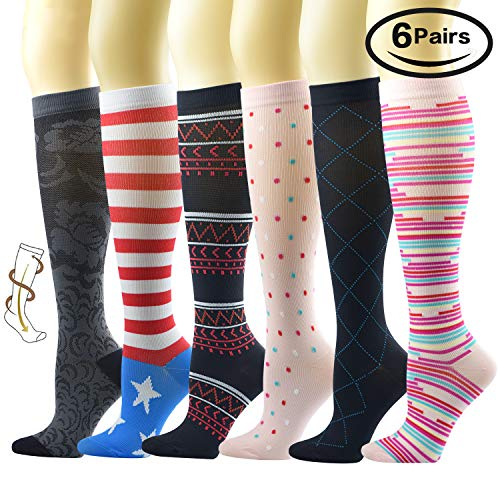 6 Pairs Compression Socks for Women (Medical 8-15mmHg) to Relieve Symtoms of Leg Fatigue and Swelling Best for Nursing,Running,Athletic,Edema,Diabetic,Varicose Veins,Travel,Pregnancy & Maternity