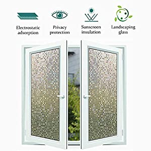 Privacy Window Film with Lattice Pattern, Crystal Mosaic Glass Film No Glue UV Protection Heat Control, Perfectly Decorate Home Kitchen Bedroom 35.4 in x 8.2 Ft, Lattice