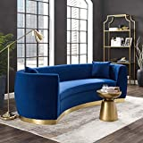 Modway Resolute Retro Modern Curved Back Upholstered Performance Velvet Sofa with Two Throw Pillows in Navy
