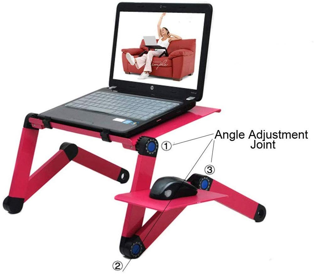 Yamumu Adjustable Laptop Desk, Foldable Cozy Desk Portable Adjustable Laptop Table Stand Up/Sitting with Big CPU Cooling Fans and Mouse Pad (Rose) by Yamumu