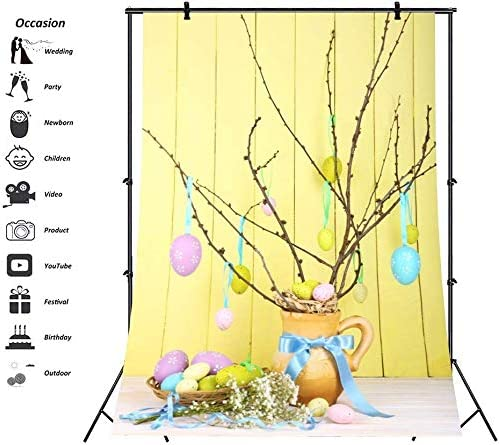 8x10fy Easter Backdrop Background Colorful Eggs Tree Photography Wooden Panel Floor Wood Yellow Plank Wall Backdrop Children Newborn Festival Photo Portrait for Video Studio Props