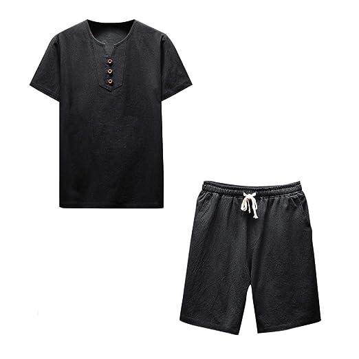 38121956cd Amazon.com: NEARTIME Men Shirt Set, Summer Plus Size Short Sleeve ...