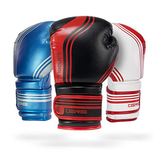 Sanabul Core Boxing Gloves (Black/Red, 16 oz) ()