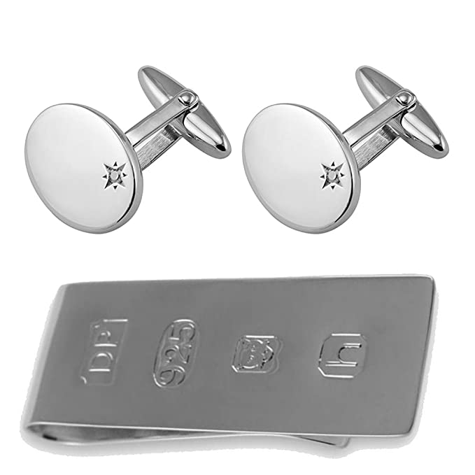 Sterling silver sapphire cufflinks James Bond Money Clip Box Set