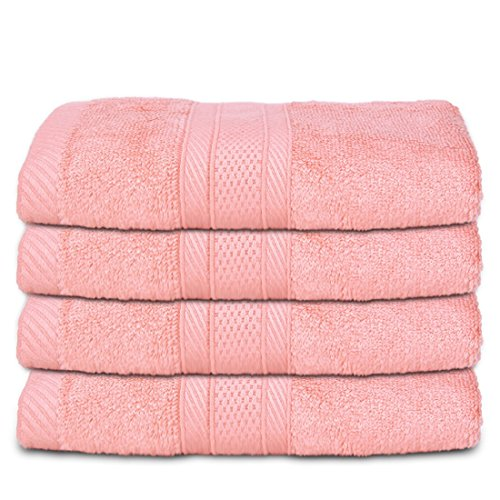 WILLIAM&KATE 4-Piece Bamboo Cotton Bath Towels Luxury Bath Sheet Perfect for Home, Bathrooms 34x75cm(Pink) (Rob Zombie No Halloween 3)