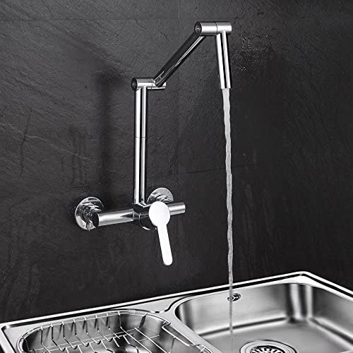 Jiuzhuo Modern Wall-Mount Hot Cold Articulating Kitchen Faucet 2-Hole Bridge with Single Handle in Chrome