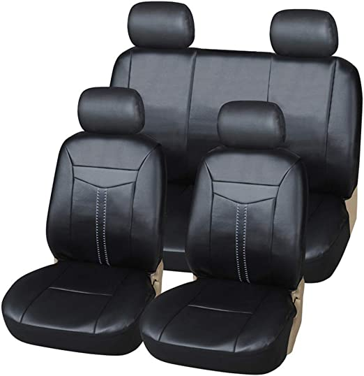 CAR SEAT COVERS full set fit TOYOTA AURIS Eco-leather Leatherette Black//Grey