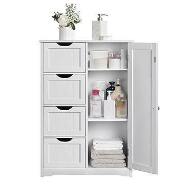 Yaheetech Wooden Bathroom Cabinet Bedroom Storage Units Cupboard Organiser Freestanding Chest Of Drawers Hallway