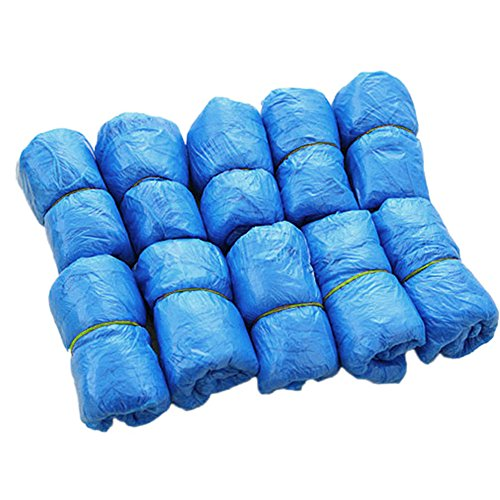 YXTech 100PCS Waterproof Boot Covers Plastic Disposable Shoe Covers Overshoes Medical Disposable Shoe Covers