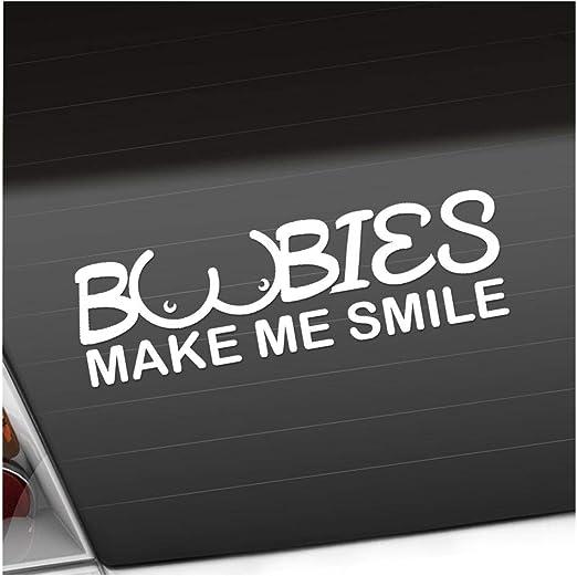 Boobies Make Me Smile In 15 Colours Neon Chrome Die Cut Sticker 20 X 6 Cm Auto