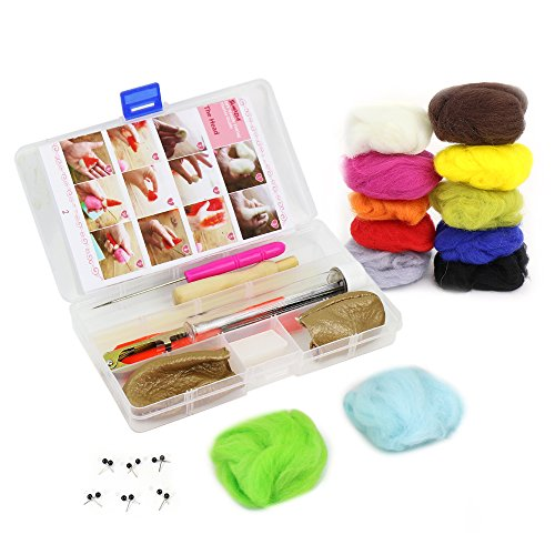 SIMPZIA Needle Felting Craft Kit Wool Felting Starter Kit - 7 Felting Needles, Wooden Needle Holder, Scissors, Awl, Glue Stick, Leather Finger Cots with 12 Colors Roving Wool & 6 Pair Black Glass Eyes