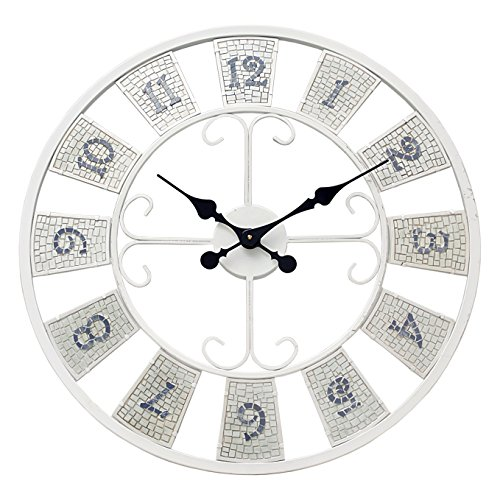 Blue Mosaic Clock - Grasslands Road 23.5 Inch Mosaic Wall Clock
