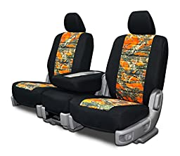 Custom Fit Seat Covers For Jeep Wrangler Low Back Seats - Neoprene & Orange Camo Fabric