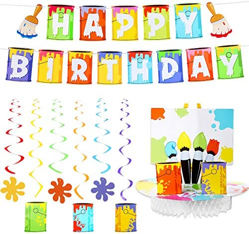 Art Party Supplies Art Birthday Banner Set, Include Art Honeycomb Centerpiece, Happy Birthday Banner with 6 Pieces Hanging Swirl Decoration for Art Painting Theme Birthday Party Decorations
