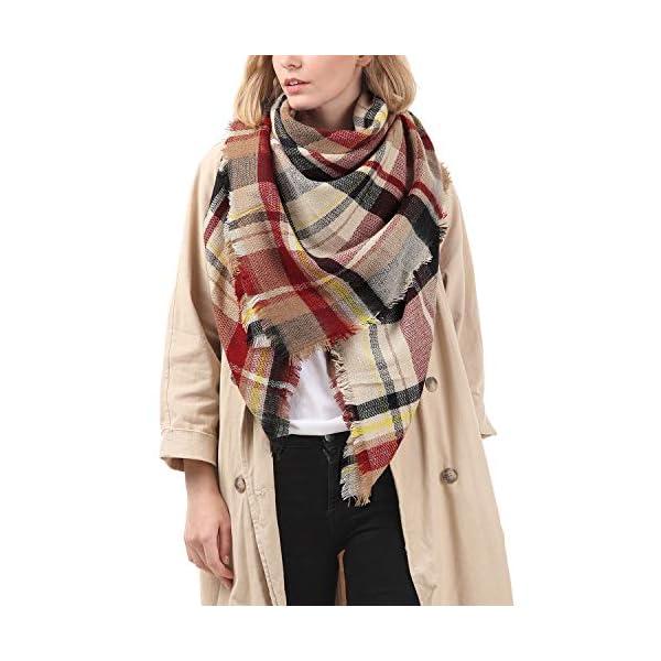 Zando Womens Winter Scarf Tassel Plaid Scarf Chunky Blanket Scarves Soft Lightweight Blanket Thick Large Wrap Shawl