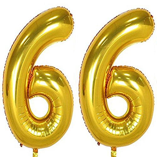 40inch Gold Foil 66 Helium Jumbo Digital Number Balloons, 66th Birthday Decoration for Girls or Boys, sweet 66 Birthday Party Supplies