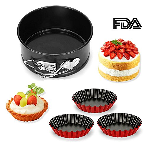 Mini Springform Pan Bakeware Set,4 inches Round Cake Pan,Cheesecake Pan with Removable Bottom and Quick-Release Latch, Nonstick Baking Pan and 3 Piece Egg Tart Molds Included (Set of 4pcs) ()