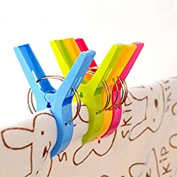 GikBay Beach Towel Clips, Towel Holder in 4 Fun Bright Colors for Beach Chair or Pool Loungers on Your Cruise, Keep Towel from Blowing Away, Set of 8