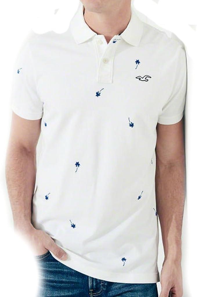 Hollister Camiseta Blanco y Azul Magenta de manga corta Logo Mediano y Grande. Nuevo 2016: Amazon.es: Ropa y accesorios