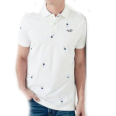Hollister Camiseta Blanco y Azul Magenta de manga corta Logo ...