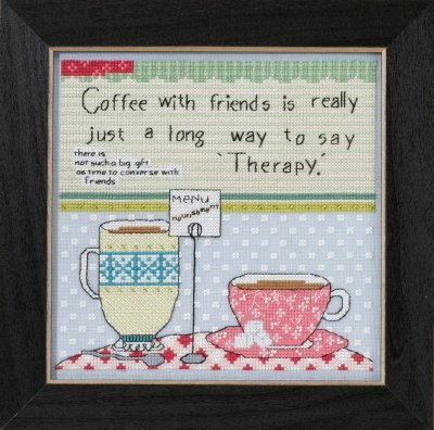 Coffee With Friends Beaded Counted Cross Stitch Kit Mill Hil
