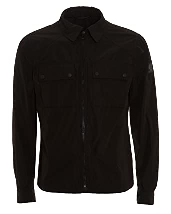bcc780045c9 Belstaff Mens Shawbury Jacket, Zip up Black Overshirt Jacket: Amazon.co.uk:  Clothing