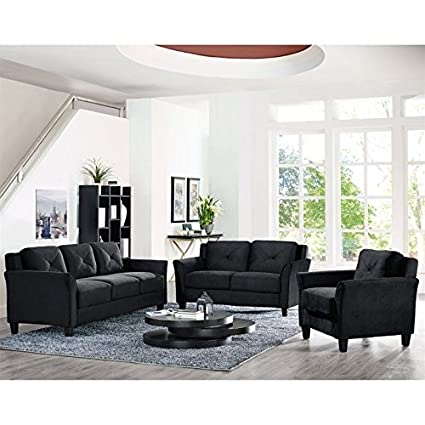 Amazon Com Lifestyle Solutions Hartford 3 Piece Microfiber Sofa Set