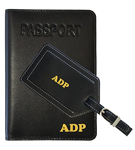 Personalized Monogrammed Black Leather RFID Passport Cover Holder and Luggage - Passport Cover Monogrammed