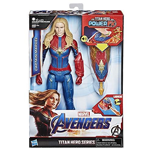 Boneco Titan Capitã Marvel, Avengers, Azul/Vermelho