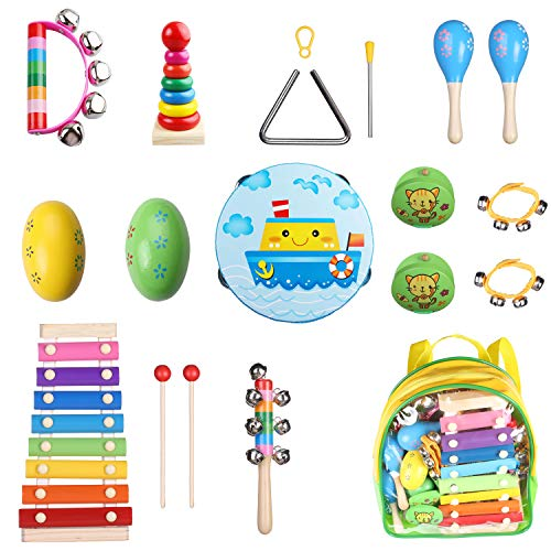 Children's Musical Instruments Sets with Xylophone for Kids, 17 Pcs Wooden Music Rhythm Percussion Birthday Gifts for Boys and Girls with a Free Portable Clear Backpack -