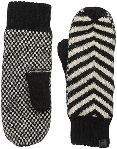 Bickley & Mitchell Women's Jacquard Print Striped Knit Mitten, Black, One Size