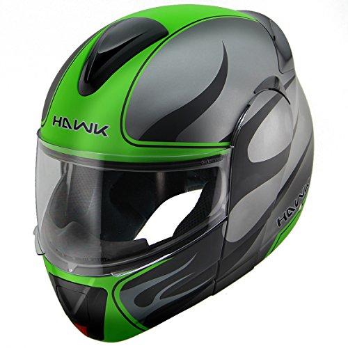 (Hawk H-66 Blaze Matte Grey/Green Dual-Visor Modular Motorcycle Helmet - Large)