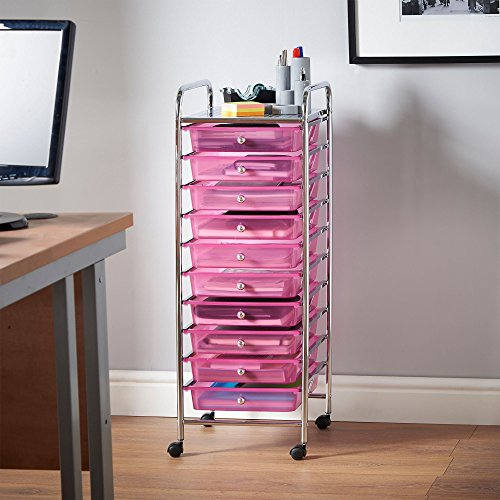 Vonhaus 10 Drawer Storage Trolley For Home Office