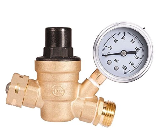 - RV Water Pressure Regulator Adjustable with Gauge and Filter, Brass Lead-Free 3/4