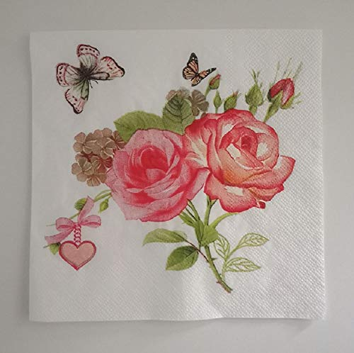 napkins-rose flower design napkins: Nursetree 3- ply 13 inch13 inch, 2 pack of 30 count rose flower lunch napkin, elegant rose flower with butterfly and heart shape pendant design paper napkin