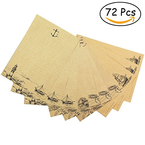 Bolbove 72 Pcs Vintage Retro Writing Stationery Paper Nautical Sea Theme Sheets, 3 Patterns, Brown (Printable Halloween Story Paper)