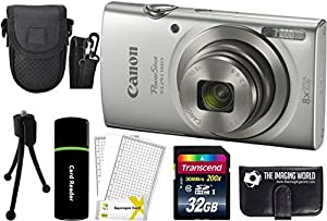 Canon PowerShot ELPH 180 20MP 8x Zoom Digital Camera + Card + Reader + Case + Accessory Bundle