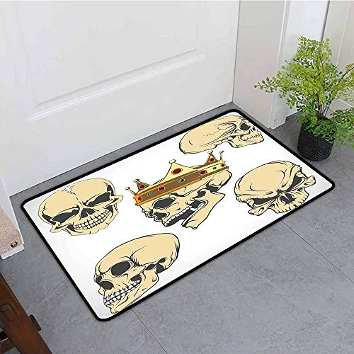ONECUTE Print Bath Mat,Skull Skulls Different Expressions Evil Face Crowned Death Monster Halloween Print,Rustic Home Decor,31