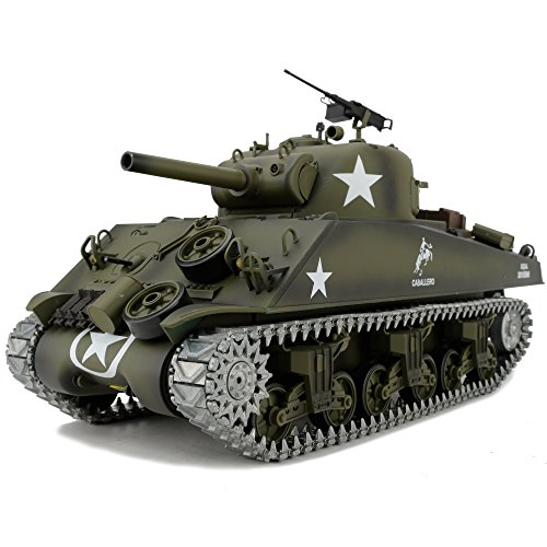 Modified Edition 1/16 2.4ghz Remote Control US M4A3 Sherman Tank Model(360-Degree Rotating Turret)(Steel Gear Gearbox)(3800mah Battery)(Metal Tracks &Sprocket Wheel & Idle Wheel) ()