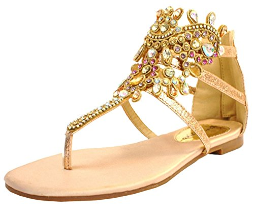 Post Toe Fashion Diamante Sandals Beach Party Holiday Strappy Ladies Shoes Womens Gold L4 Summer Rose qISZW