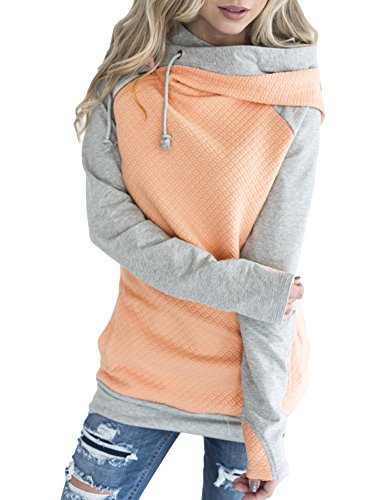 Romacci Women Double Hooded Sweatshirt Long Sleeve Spliced Color Casual Pullover Tops with Pockets Pink