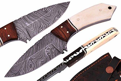 Mason Sharp Edge Custom Handmade Fixed Blade Damascus Hunting Knife with Leather Sheath (Bone Handle Full Tang Blade)