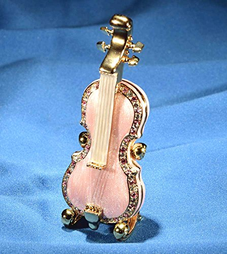 Pink Viola Crystal Jeweled Figurine Hinged Trinket Box