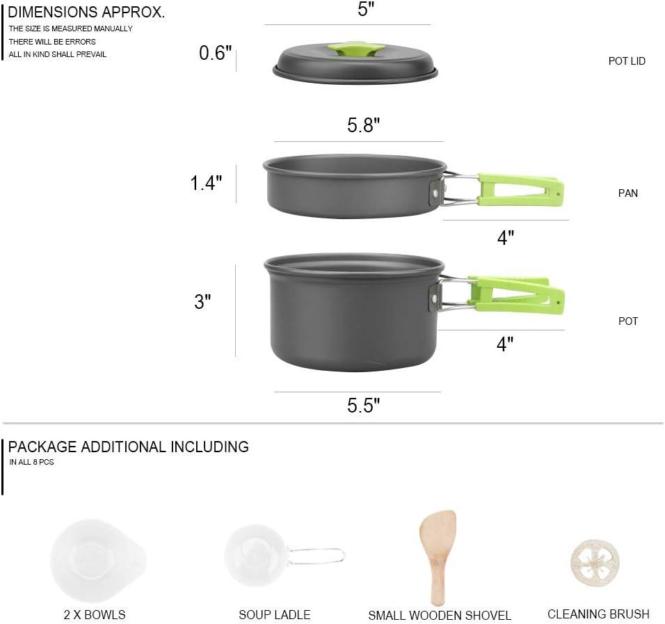 Hiking Cooking Equipment Cookset Lightweight Compact JETEDC Outdoor Camping pan Cookware Mess Kit Backpacking Gear Durable Pot Pan