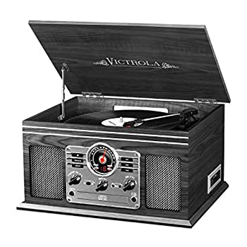 Victrola Nostalgic Classic Wood 6-in-1 Bluetooth Turntable Entertainment Center, Graphite 1