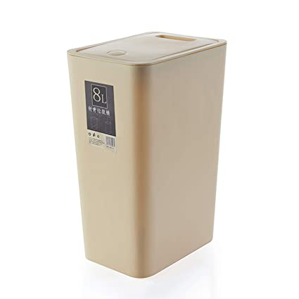 Topgalaxy.Z Small Trash Bin Kitchen Trash Can with Lid – 8 Liter/2 Gallon  Plastic Garbage Can, Waste Can bin (Beige)